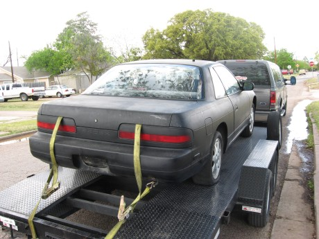 Pushed the SR coupe onto the trailer since it has some engine issues, most likely timing